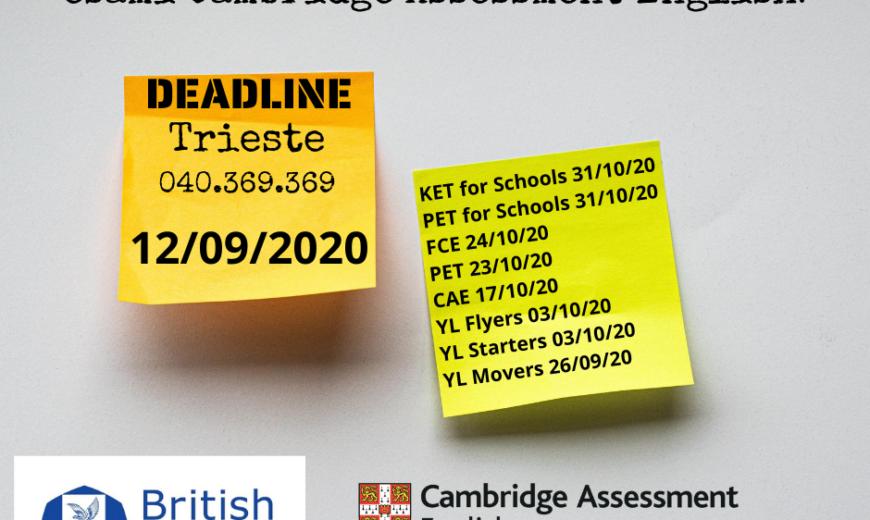 scadenza iscrizioni Cambridge 12_09_2020